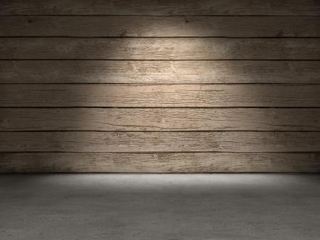 木製の壁のコンクリートの床