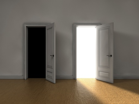two visions: Bright light coming from one door and darkness from the other