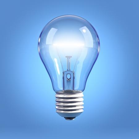 filaments: Incandescent light bulb on blue background