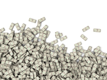 one hundred dollar bill: Hundreds of packs of money bills Stock Photo