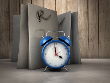 Blue alarm clock and shopping bags background photo