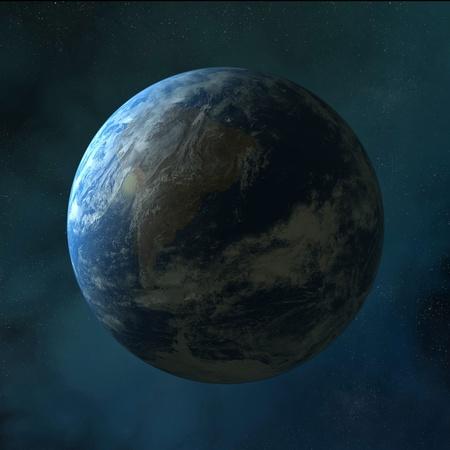 Aarde, die op schone ruimte Stockfoto