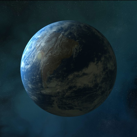 Earth standing on clean space