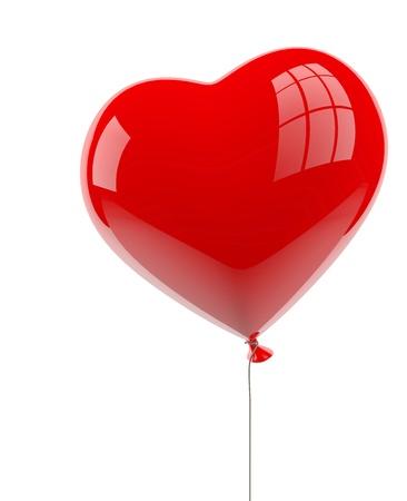 Hart ballon op wit