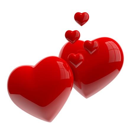Twee rode harten en een aantal kleinere op wit