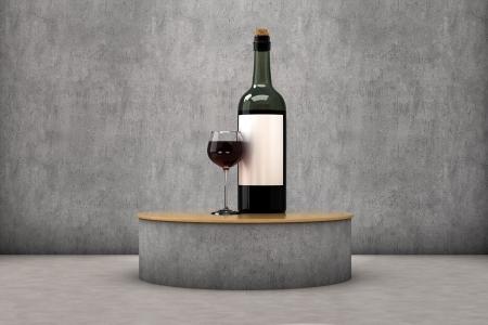 expositor: Un vaso y una botella de vino en un expositor