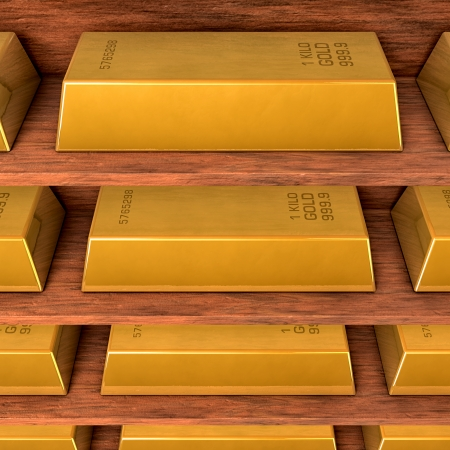 copper coin: Shelves with gold