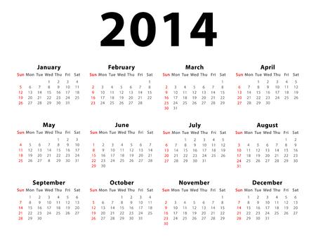 白い背景に分離された 2014 年カレンダー 写真素材