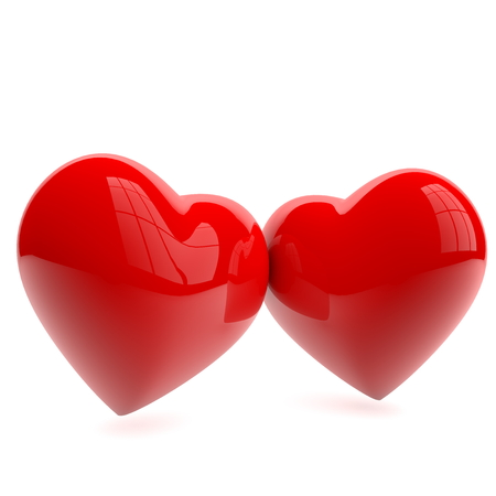 Two red hearts on white photo
