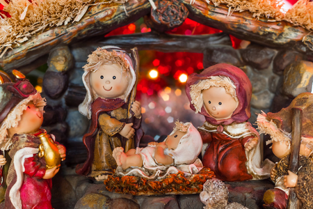Beautiful nativity scene with simplified characters Stock Photo