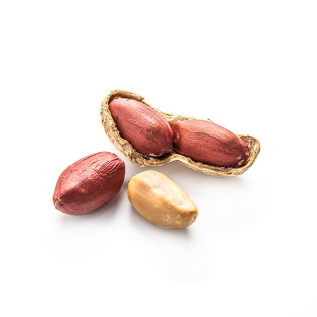 Peanuts in shell on white background photo