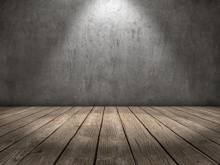 Kamer met een betonnen muur en houten vloer en een spot light Stockfoto