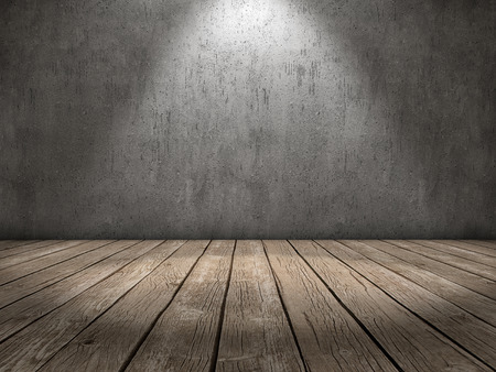 Room with concrete wall and wood floor and a spot light