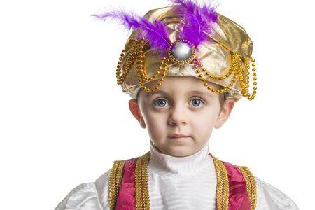 sultan: Child in sultan costume on white Stock Photo
