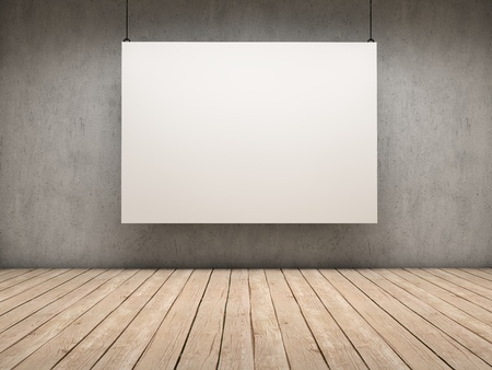 amaged: White empty exhibitor board hang in a room with beautiful light