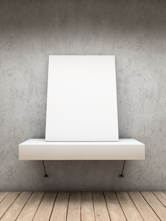 amaged: White empty frame over a shelve