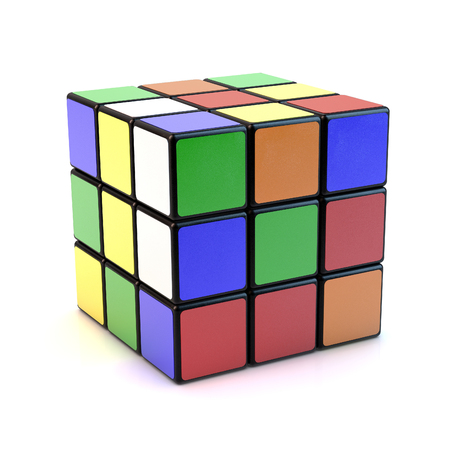 Famous Rubiks cube with mixed colors over white background