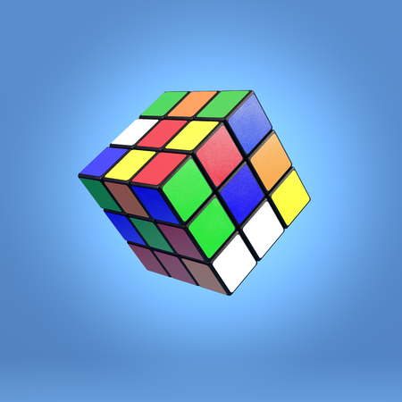 Famoso Rubik s cubo sobre fondo azul Foto de archivo - 76209681