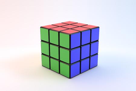 Famoso Rubik sobre fondo blanco Foto de archivo - 76209684