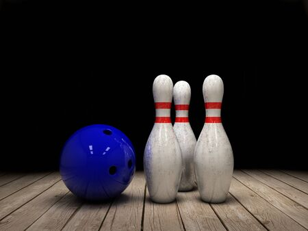 Bowling ball and pins background 3d illustration
