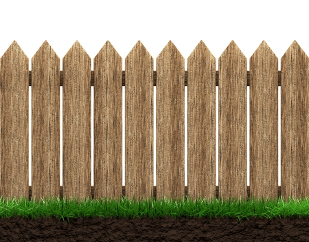 Wooden fence and grass isolated 3d illustration