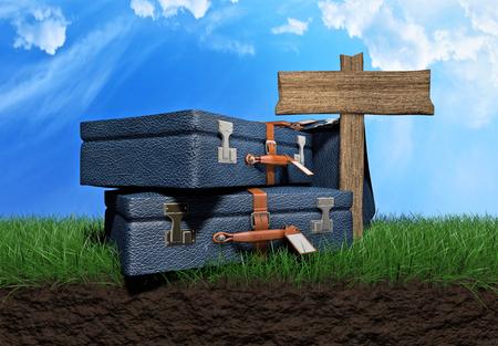 Bolsas que viajan sobre una ilustración 3d del campo de hierba Foto de archivo - 77452665