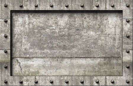 concrete background: Textured concrete frame with nails background  Stock Photo