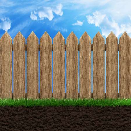 Wooden fence grass and blue sky 3d illustration