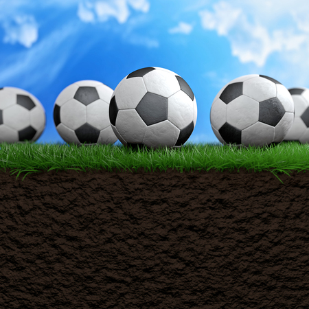 kickoff: Football or soccer balls on the grass 3d illustration