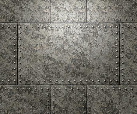 Textura de metal con placas y remaches de fondo ilustración 3d Foto de archivo - 77438959