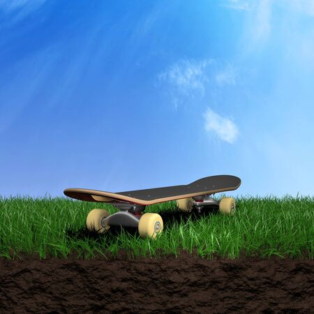 skateboard park: Skate over a grass field 3d illustration