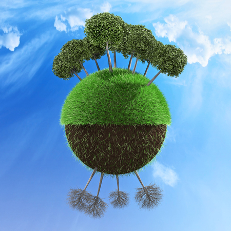 Planet illustrated with one half with healthy trees and other half with no leaf trees 3d illustration