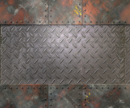 steel sheet: Metal texture with plates and rivets background 3d illustration