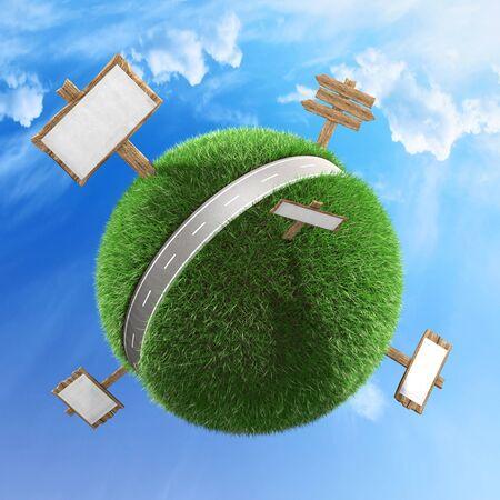 Carretera a través de un concepto de planeta con varios signos de fondo ilustración 3d Foto de archivo - 77395217