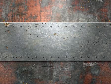 acero: Textura de metal con placas y remaches de fondo ilustración 3d