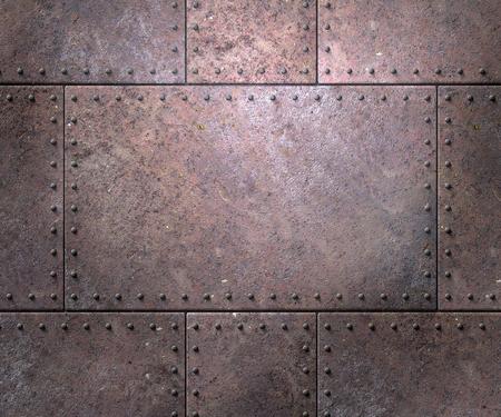 Textura de metal con placas y remaches de fondo ilustración 3d Foto de archivo - 77502875