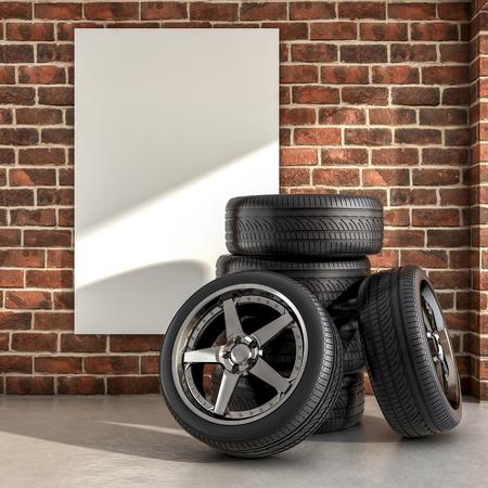 Varios neumáticos dentro de una ilustración de garaje 3d Foto de archivo - 77502636