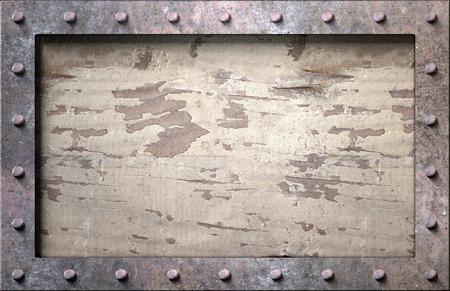 Marco de metal con clavos de fondo ilustración 3d Foto de archivo - 77502866