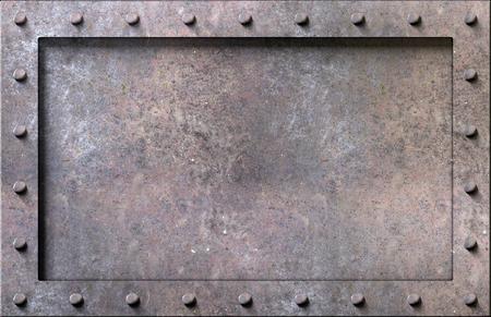 Textura de metal con placas y remaches de fondo ilustración 3d Foto de archivo - 77502786