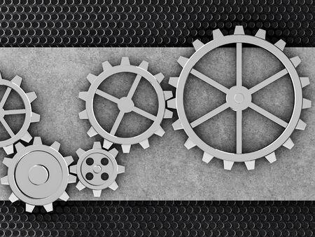 Engranajes de metal mecanismo 3d ilustración engranada Foto de archivo - 77502857