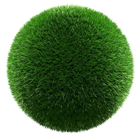 Hierba verde bola aislados 3d hacer Foto de archivo - 80887660
