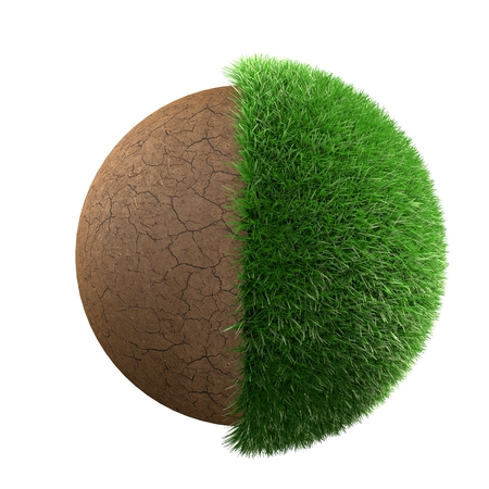 Half grass half desert planet 3d render