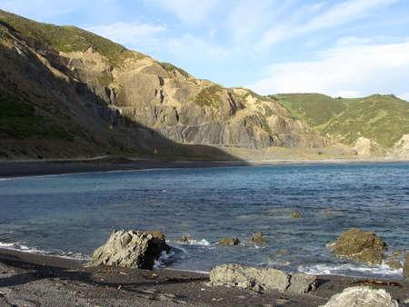 deserted: deserted coastline Wellington New Zealand Stock Photo