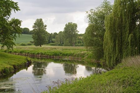 weeping willow: Enchanted Shire-Trave-Holstein Germany Stock Photo