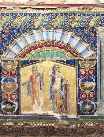 brothel: mosaic I Herculaneum Italy Editorial