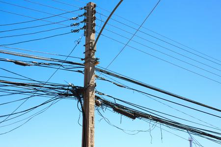 bounded: Santiago electricity pylon II Stock Photo