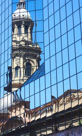Santiago - Cathedral reflected- Chile