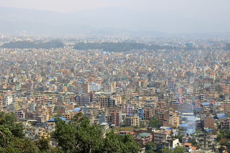 Panoramic View to the dusty Kathmandu, the Capital of Nepal
