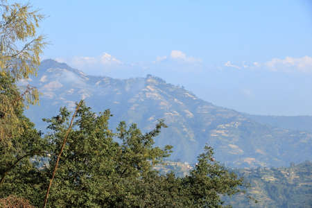 Beautiful first light from sunrise on Himalaya mountain range in Nepal