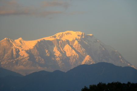 Evening view, Sunset at Annapurna mountain range from Pokhara in Nepal